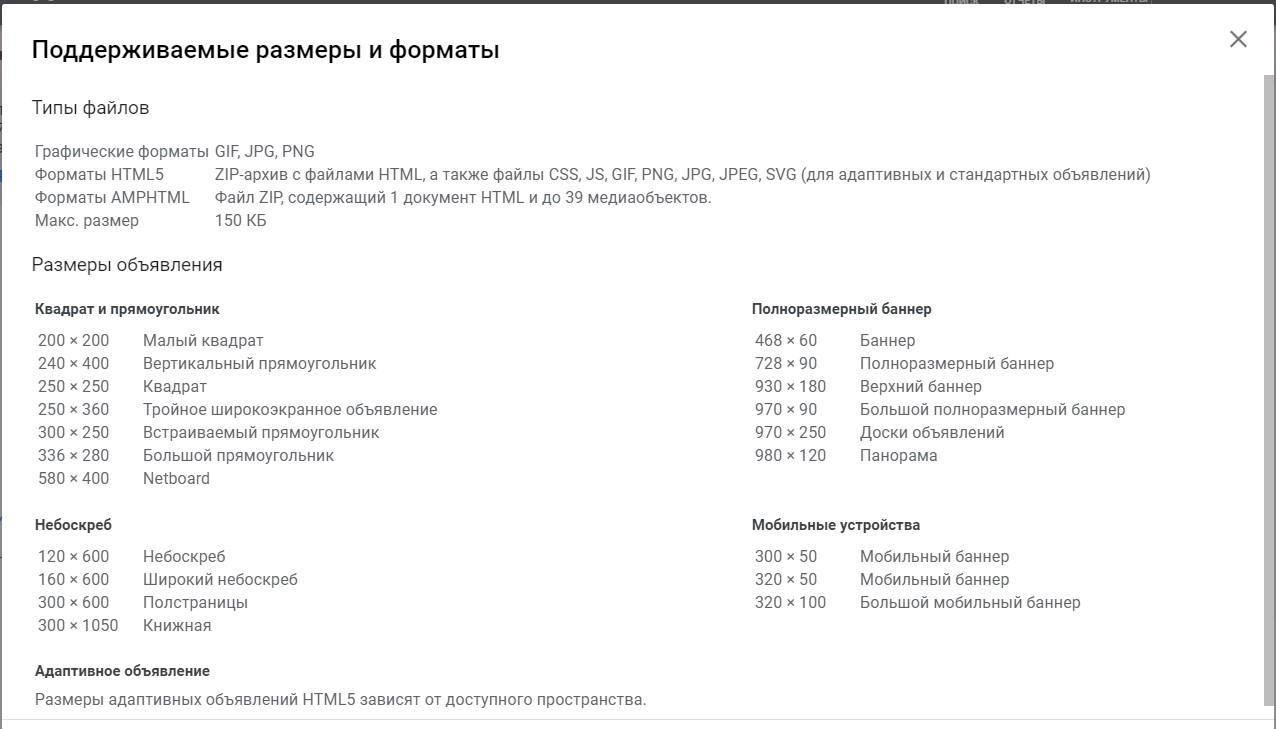 Форматы объявлений в КМС.